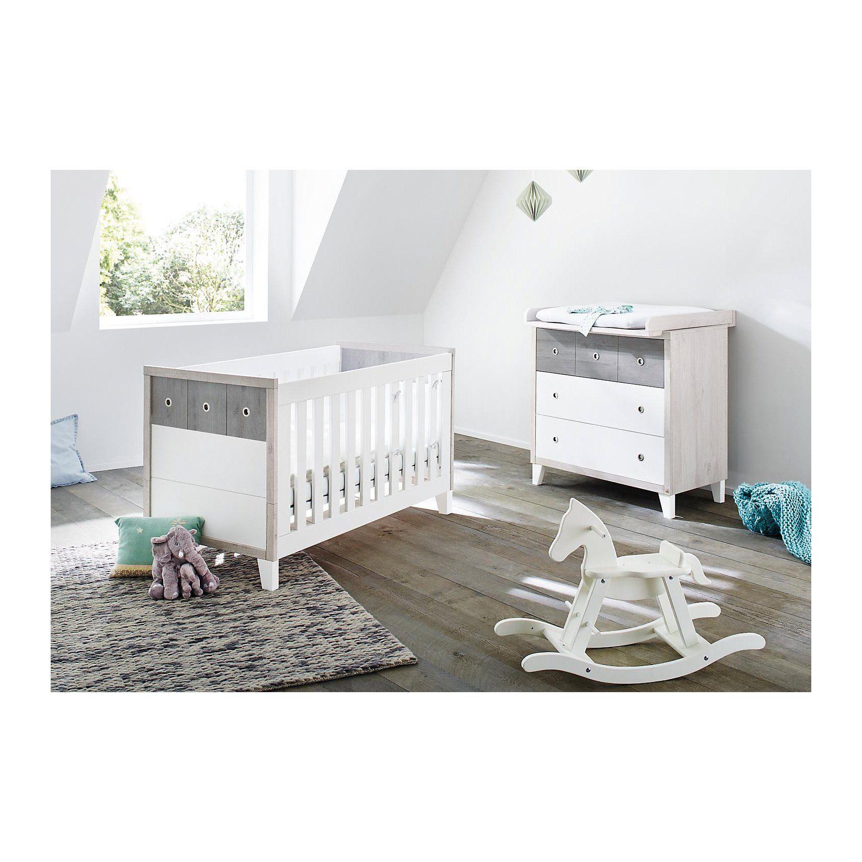 Pinolino Sparset HARPER, (Kinderbett und Wickelkommode), MDF weiß/Eic