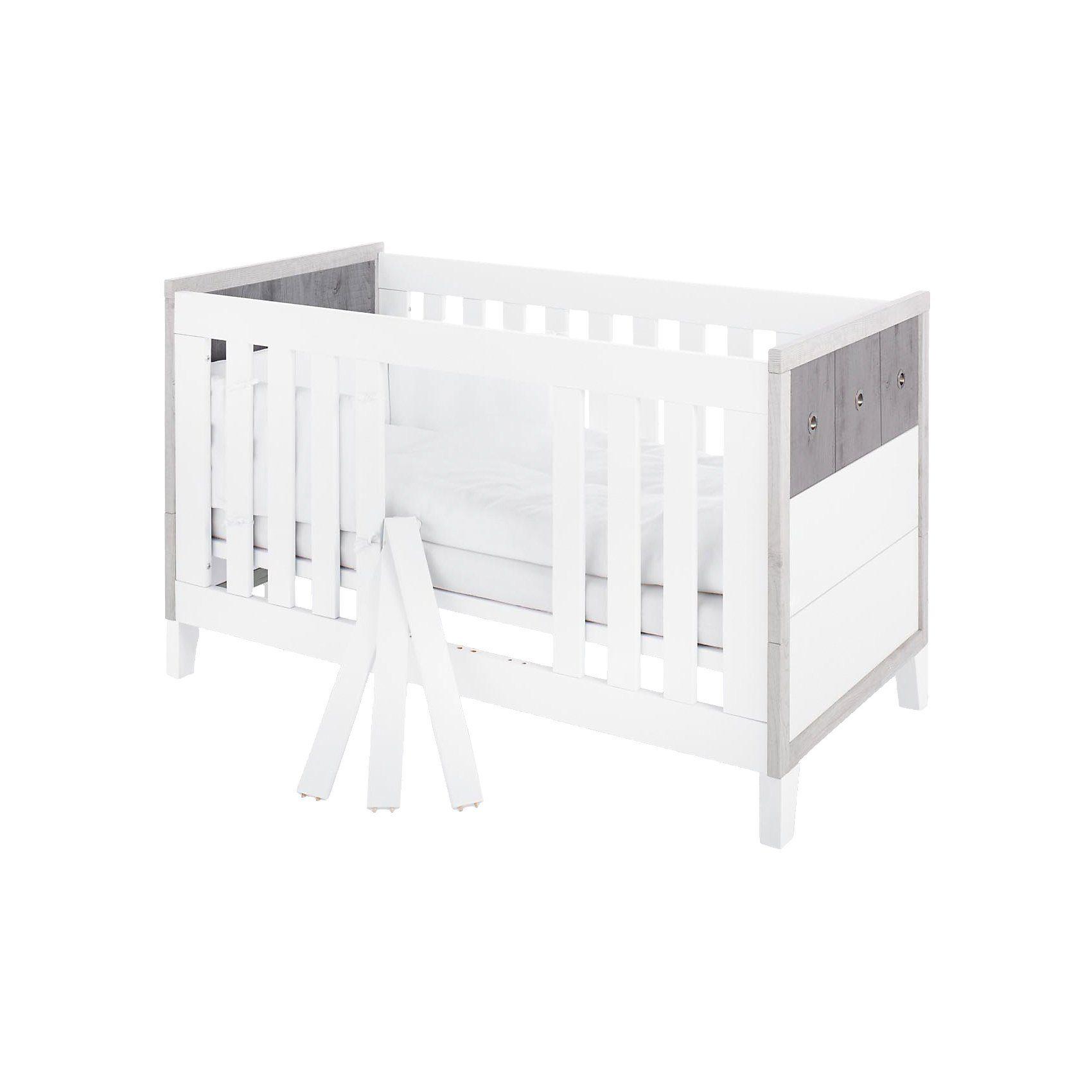 Pinolino Kinderbett HARPER, MDF weiß/Eiche grau/Esche grau, 70 x 140