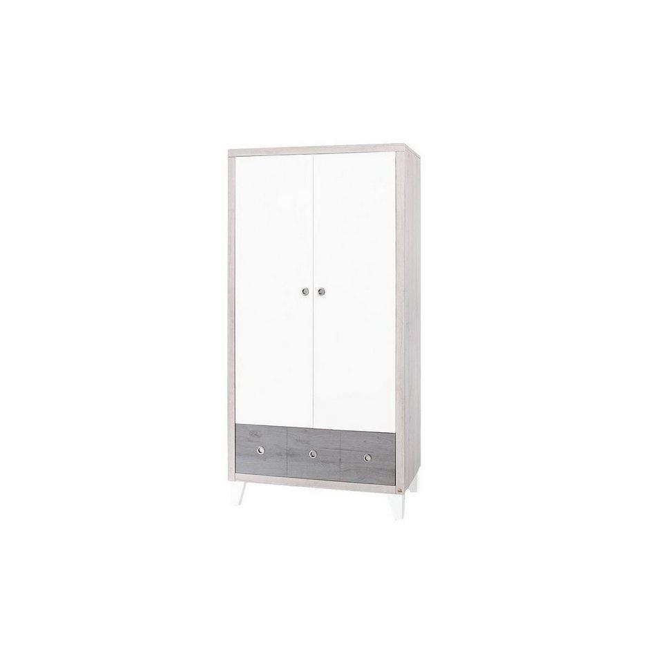 Pinolino Kleiderschrank HARPER, 2-türig, MDF weiß/Eiche grau/Esche gr