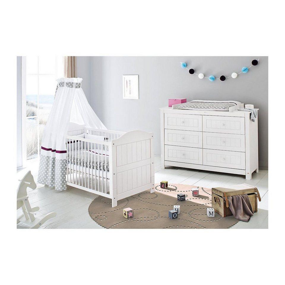 Pinolino Sparset NINA extrabreit, (Kinderbett und extrabreite Wickelk in weiß