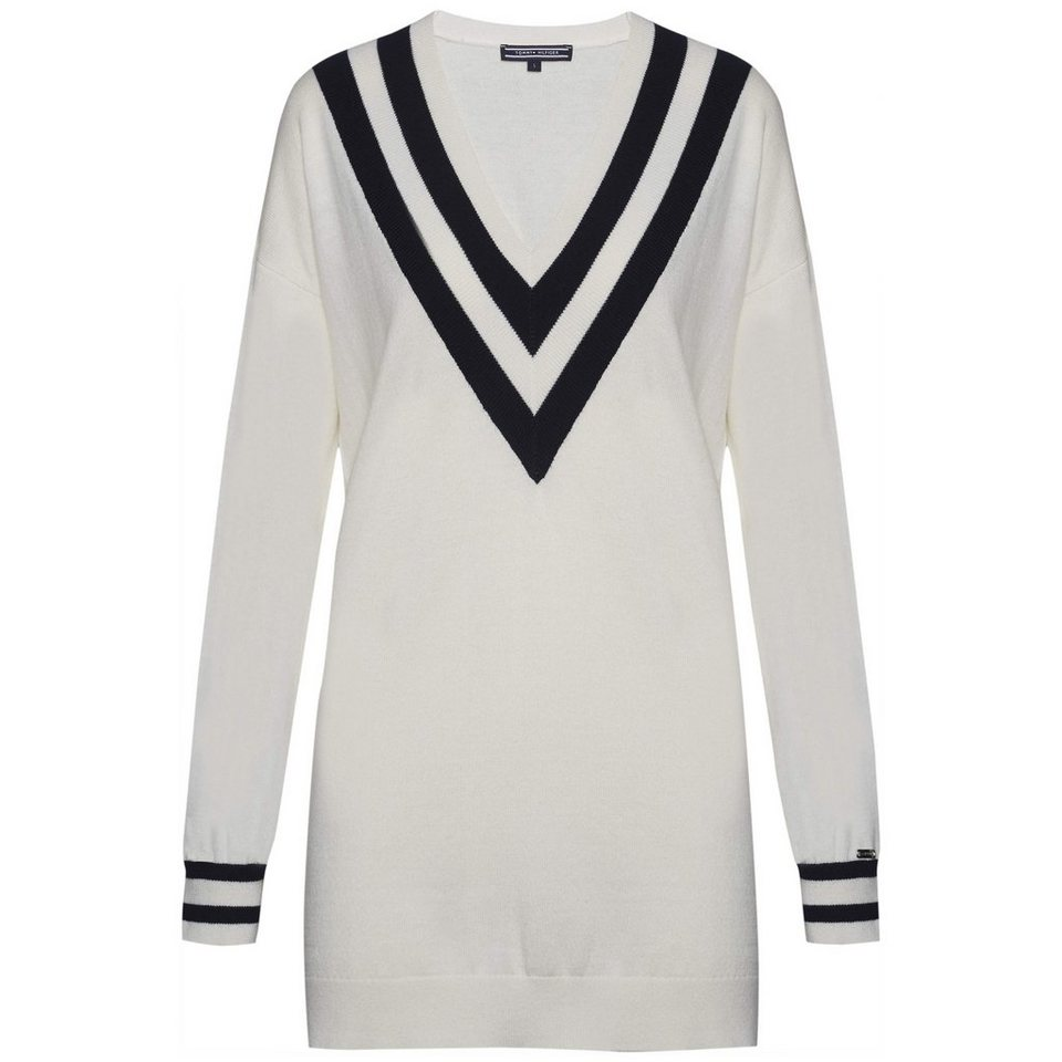 Tommy Hilfiger Pullover »HILDA V-NK SWTR« in SNOW WHITE / NIGHT SKY