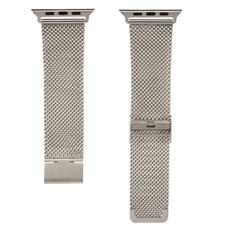 Hama Armband f. Apple Watch 42 mm Uhrenarmband größenverstellbar »Wechselarmband Edelstahl« in Silber