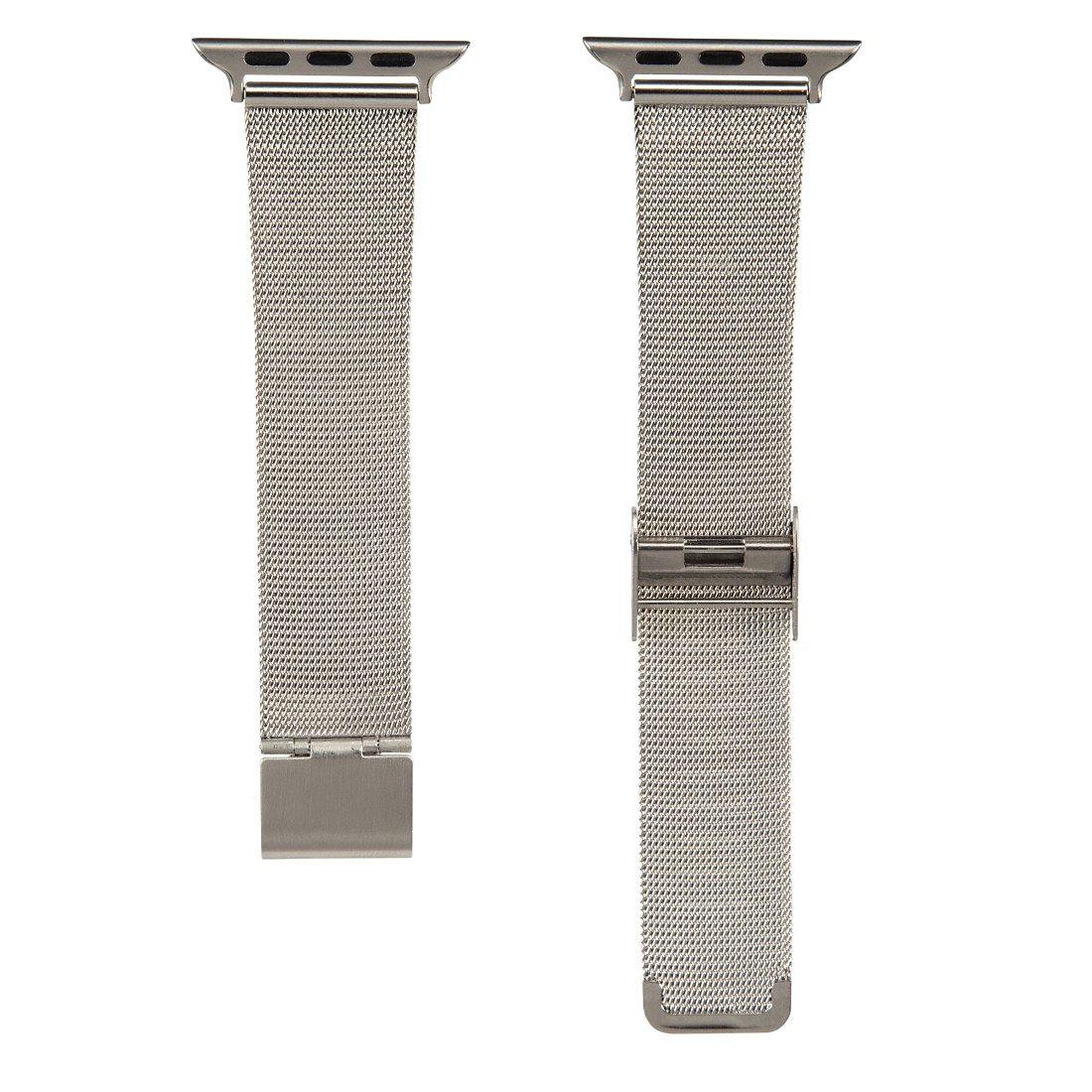 Hama Uhrenarmband Milanaise für Apple Watch 38 mm, Silber