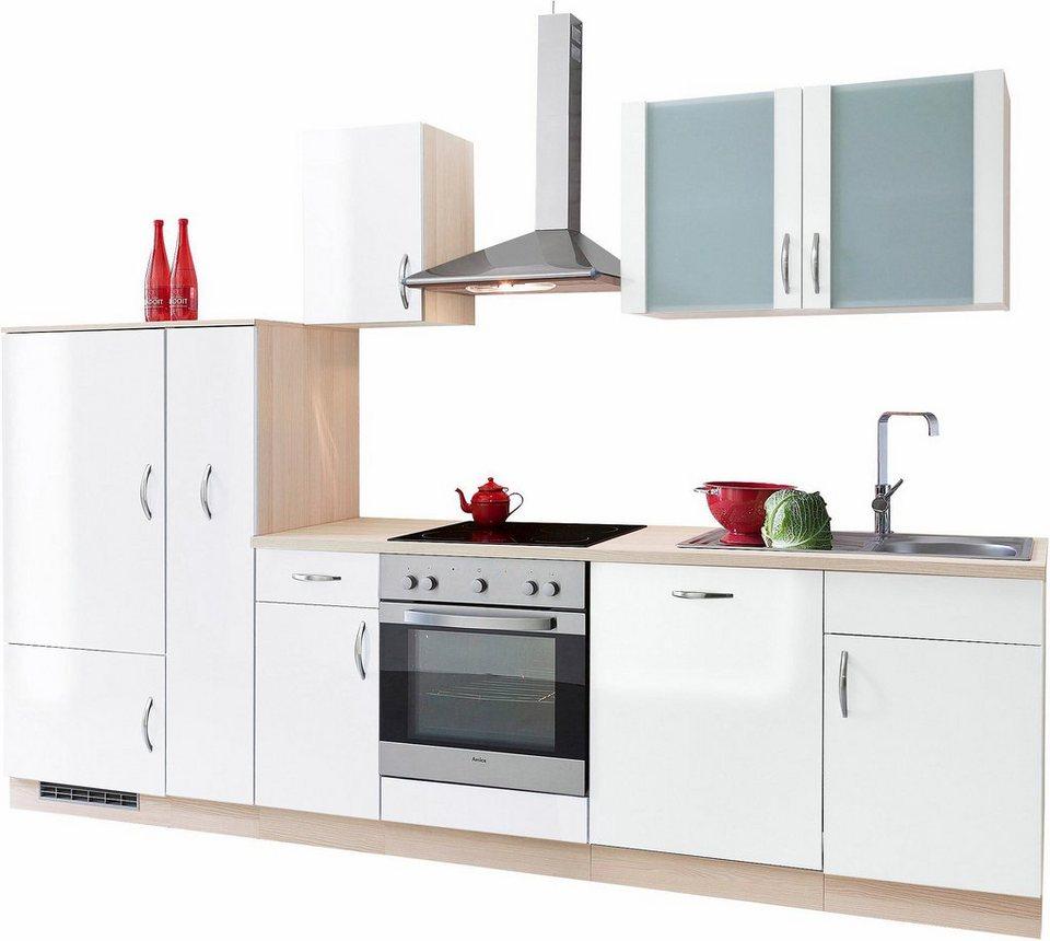Küchenzeile »Madrid« ohne E-Geräte, Breite 290 cm in Weiß