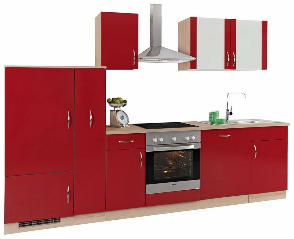 Küchenzeile »Madrid« ohne E-Geräte, Breite 300 cm in Rot