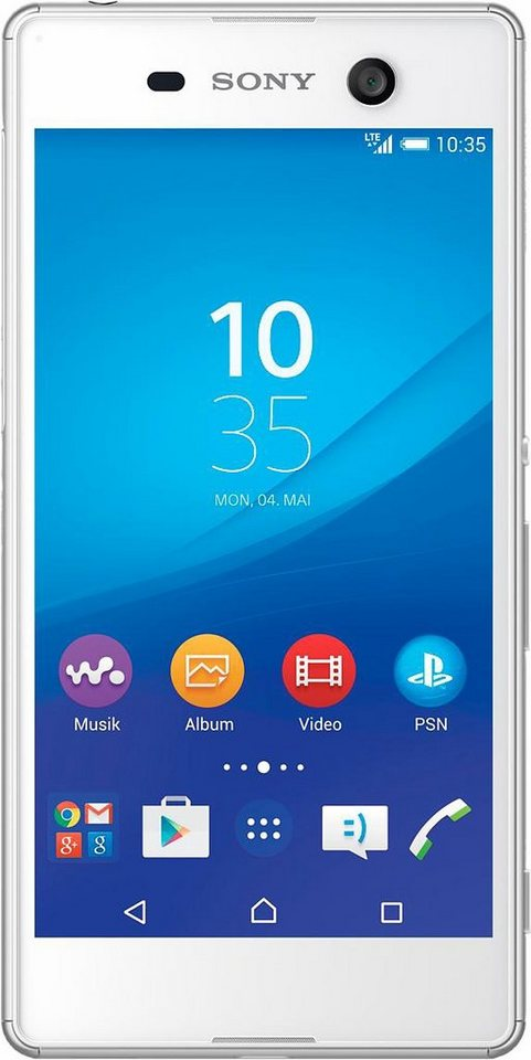 Sony Xperia M5 Smartphone, 12,7 cm (5 Zoll) Display, LTE (4G), Android 5.0, 21,5 Megapixel, NFC in weiß