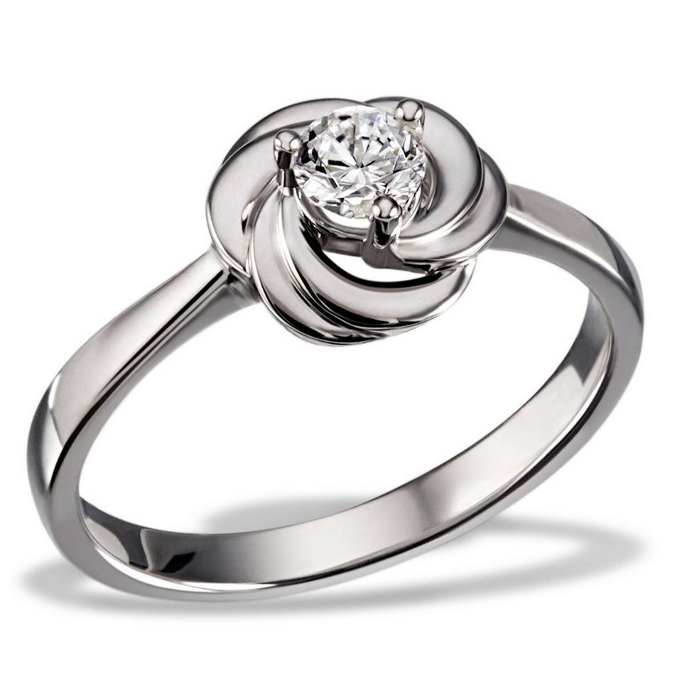 goldmaid Damenring White Rose 925/- Sterlingsilber gesetzt mit 1 Swarovsk in Silberfarben