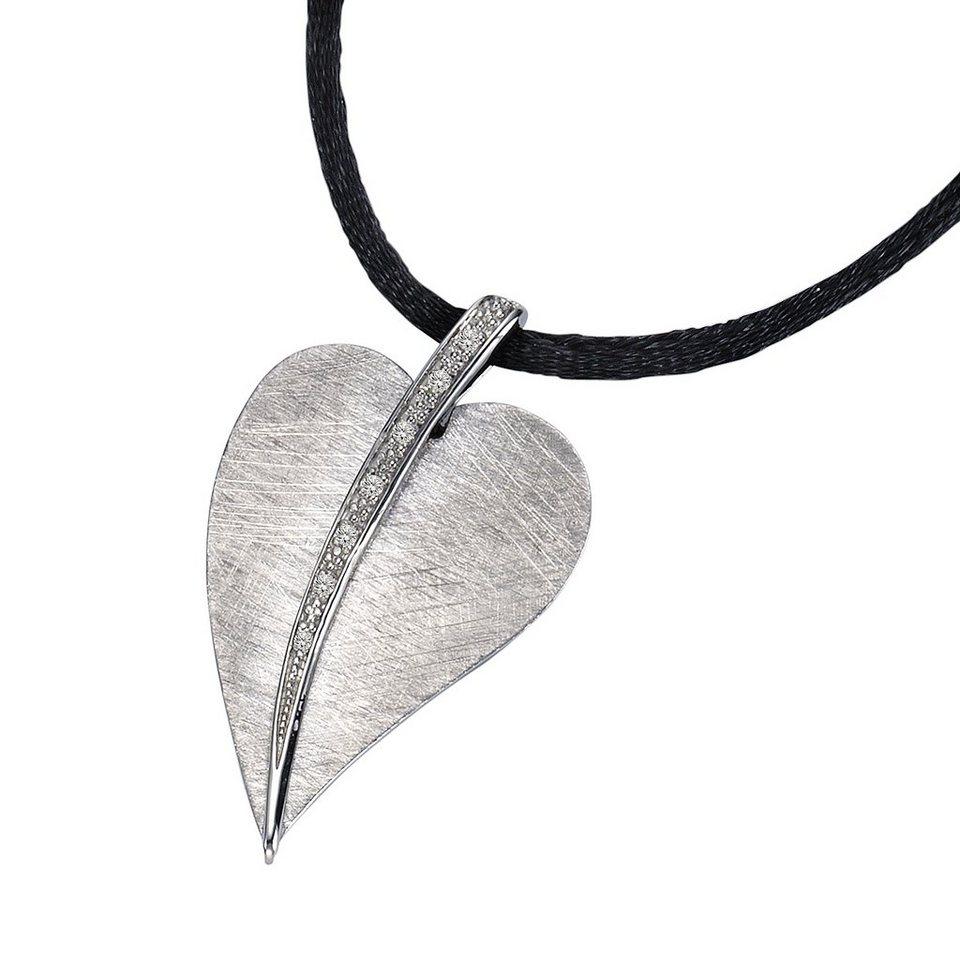 CELESTA Collier »925/- Silber 7x Diamant« in schwarz