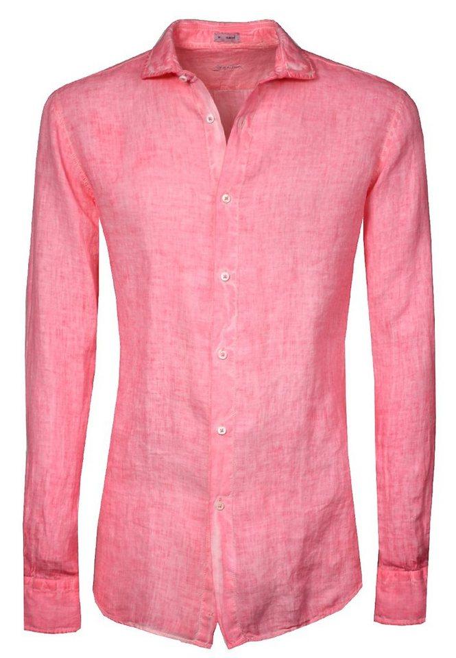 Signum Leinenhemd mit Hai-Kragen in pink flambé