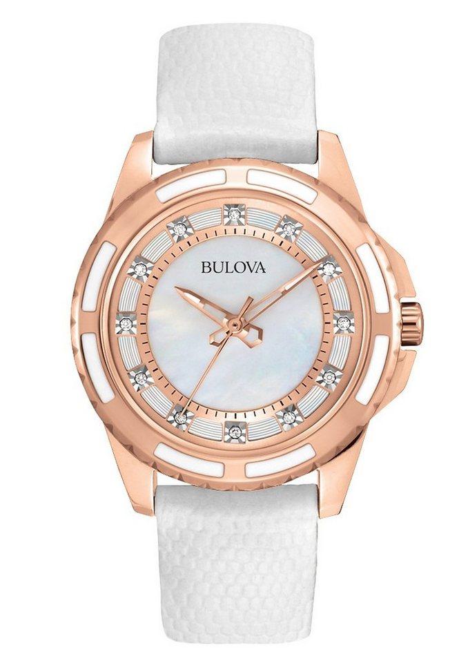 Bulova Armbanduhr, »Diamonds, 98S119« in weiß