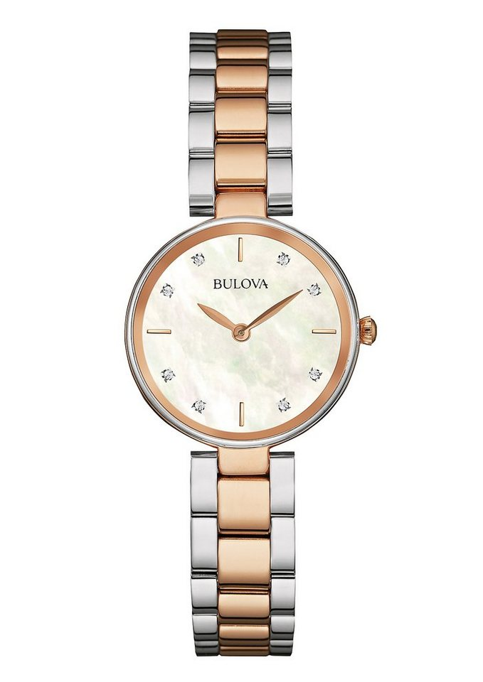 Bulova Quarzuhr »Diamonds, 98S147« in silberfarben-roségoldfarben