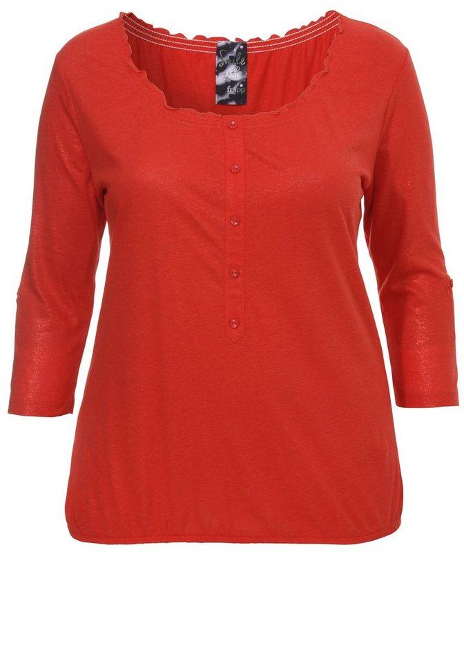 FRAPP Feminines Blouson-Shirt »in glänzendem Rot« in POPPY RED