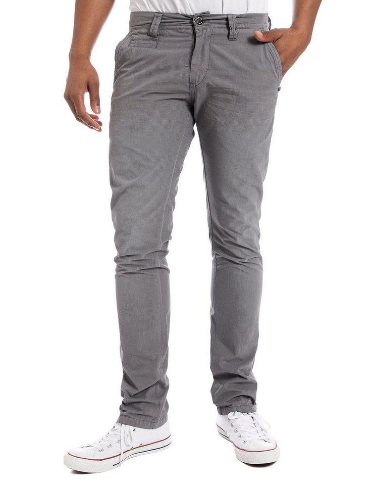 TIMEZONE Hosen lang »CurtisTZ Slim chino pants« in grey minimal check