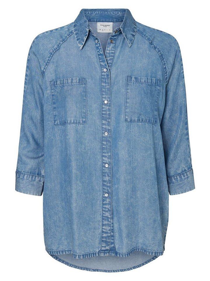 Vero Moda Loose-Fit- Hemd in Medium Blue Denim