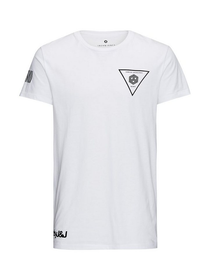 Jack & Jones Reflektierend detailliertes Long-Line T-Shirt in White