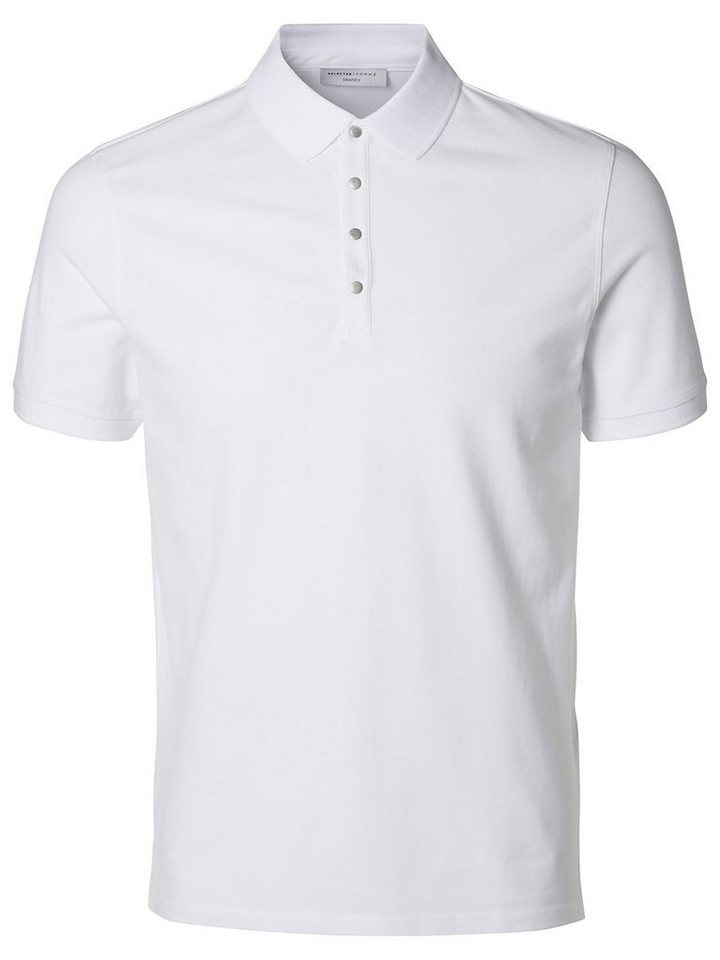 Selected Baumwoll- Poloshirt in Bright White