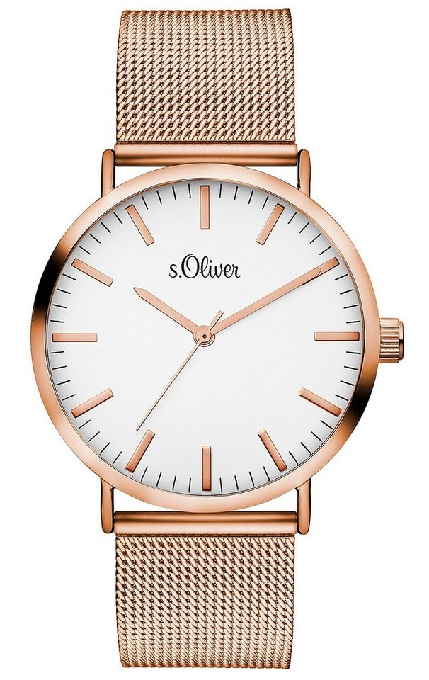 s.Oliver RED LABEL Quarzuhr »SO-3146-MQ« in roségoldfarben