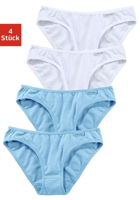 s.Oliver RED LABEL Bodywear, Slip (4 Stück), ein toller Basic für jeden Tag in 2x blau + 2x weiß