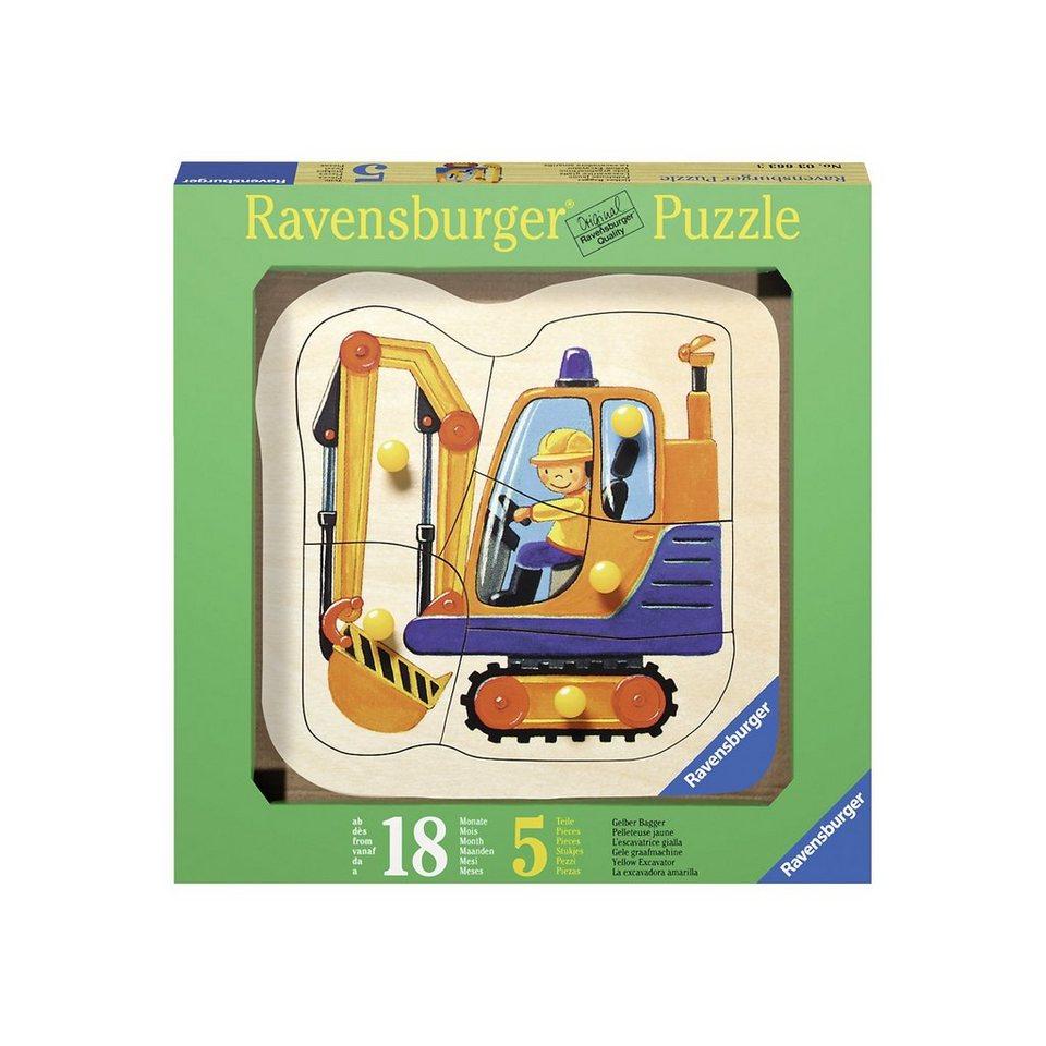 Ravensburger Holzpuzzle Gelber Bagger 5 Teile