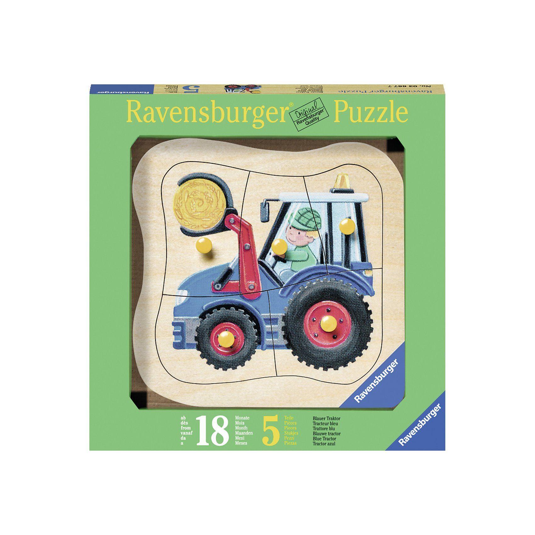 Ravensburger Holzpuzzle Blauer Traktor 5 Teile