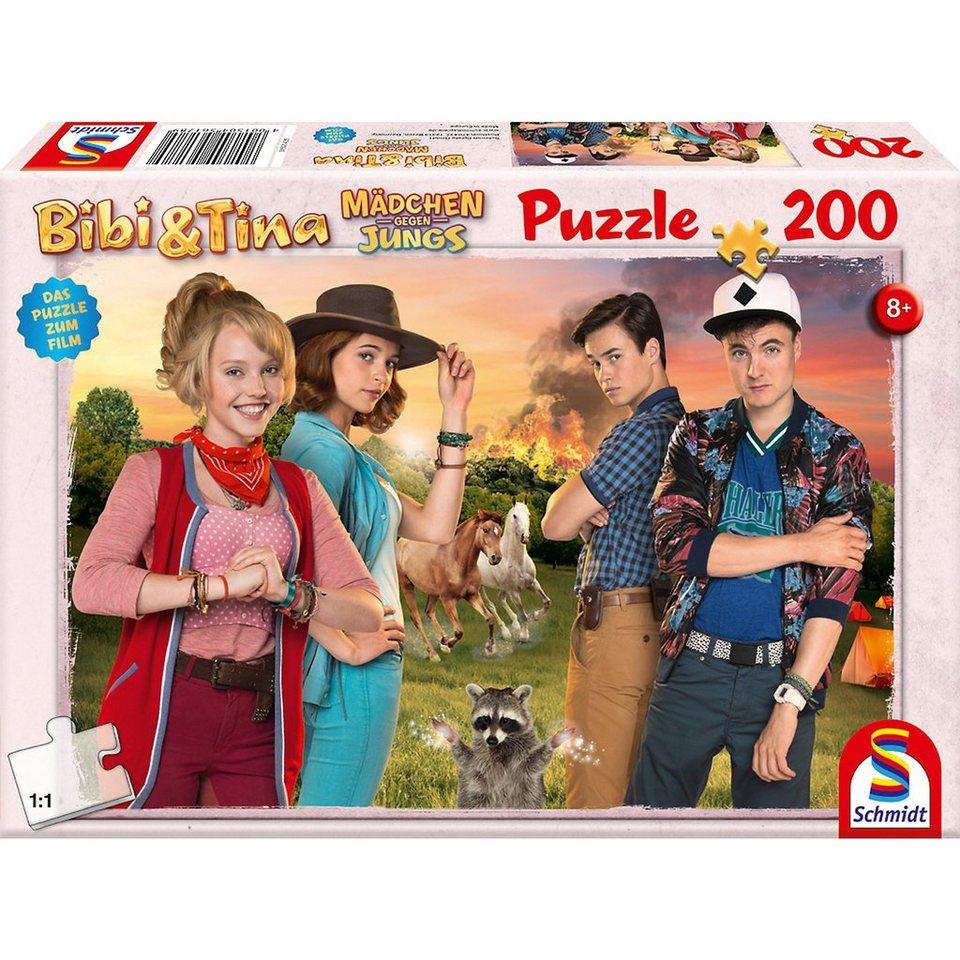 Schmidt Spiele Puzzle Bibi & Tina, Mädchen gegen Jungs, 200 Teile