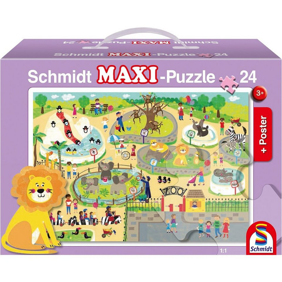 Schmidt Spiele Bodenpuzzle, Im Zoo (inkl. Poster), 24 Teile
