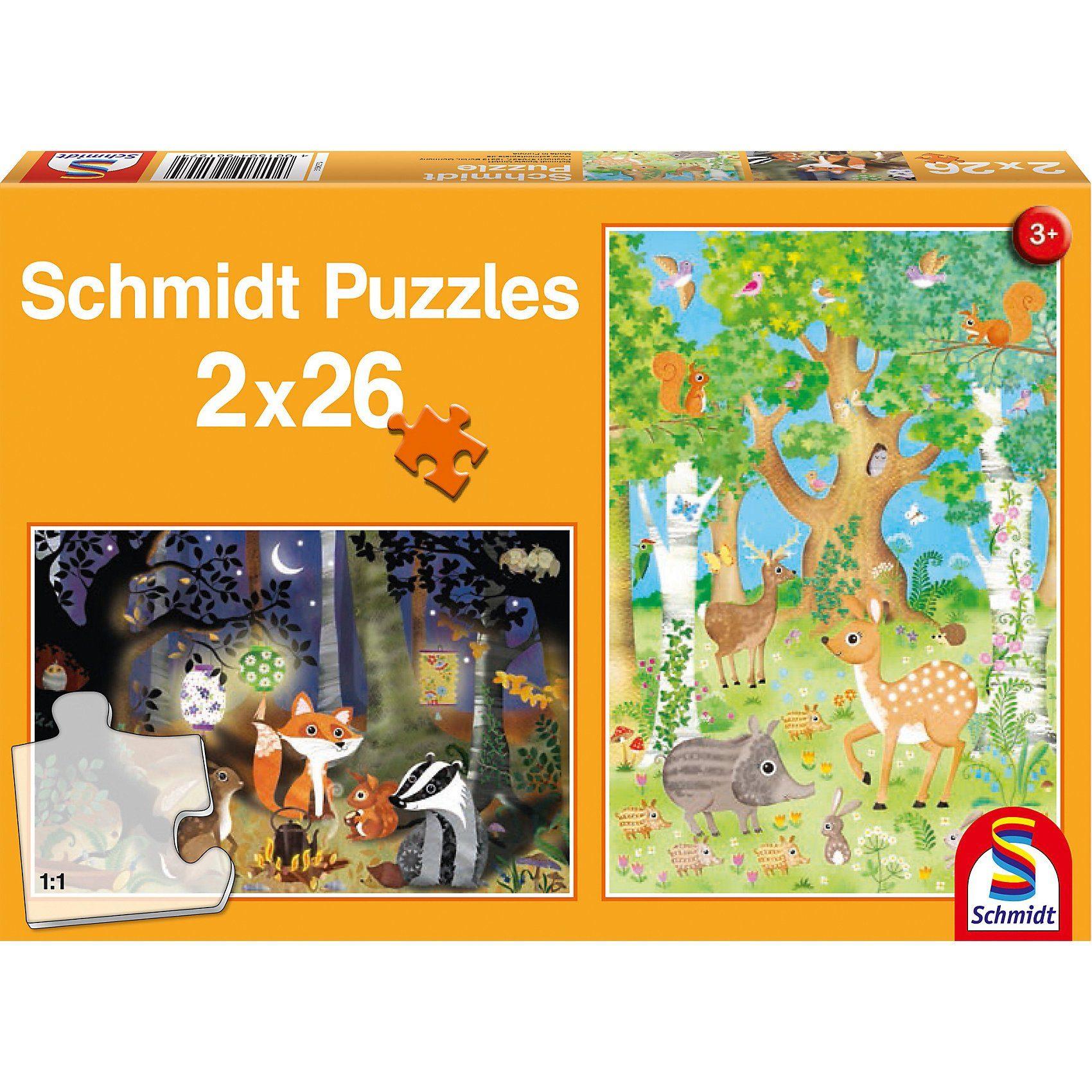 Schmidt Spiele Puzzleset Waldtiere, 2 x 26 Teile