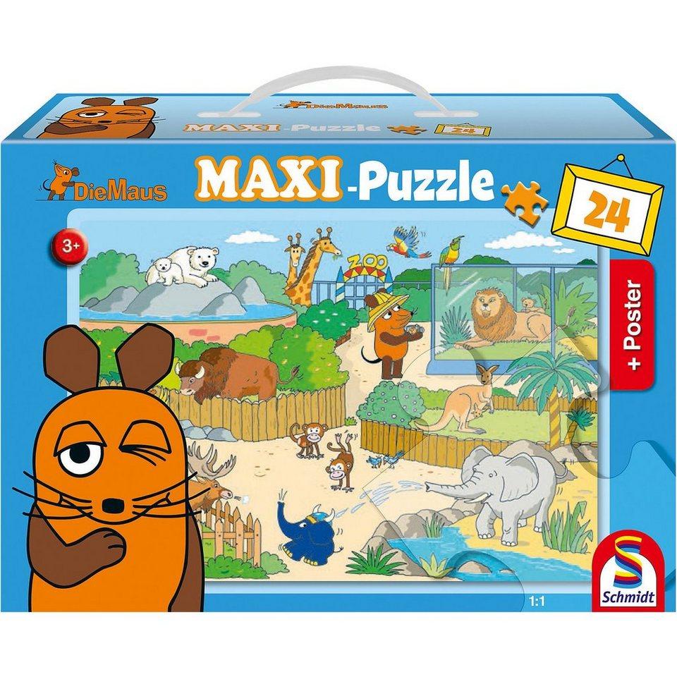 Schmidt Spiele Bodenpuzzle Mit der Maus im Zoo (inkl. Poster), 24 Teile
