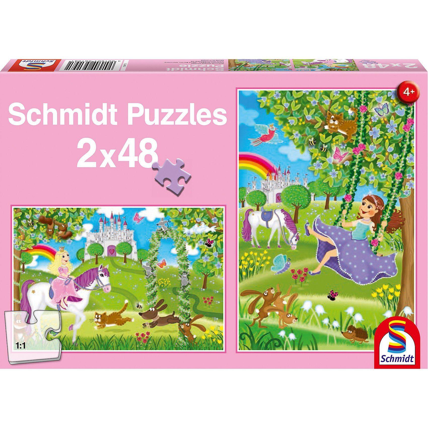Schmidt Spiele Puzzleset Prinzessin im Schlossgarten, 2 x 48 Teile