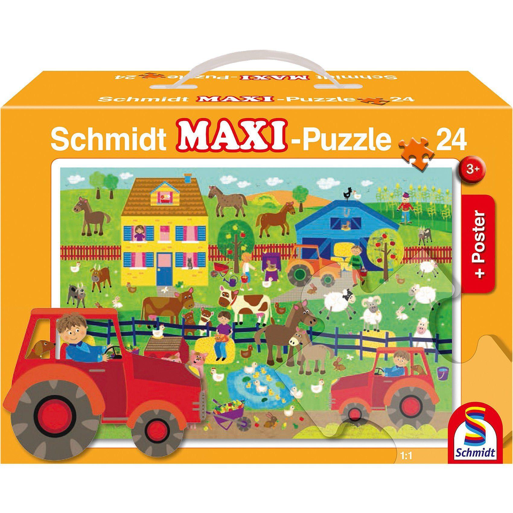 Schmidt Spiele Bodenpuzzle, Auf dem Bauernhof (inkl. Poster), 24 Teile
