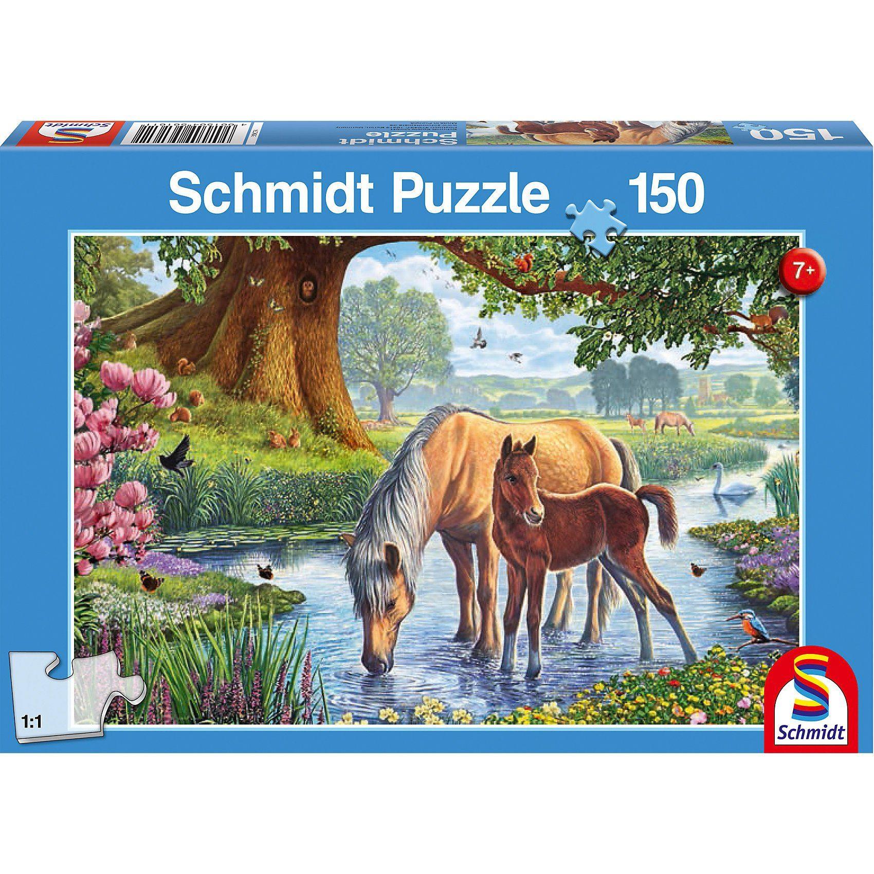 Schmidt Spiele Puzzle Pferde am Bach, 150 Teile