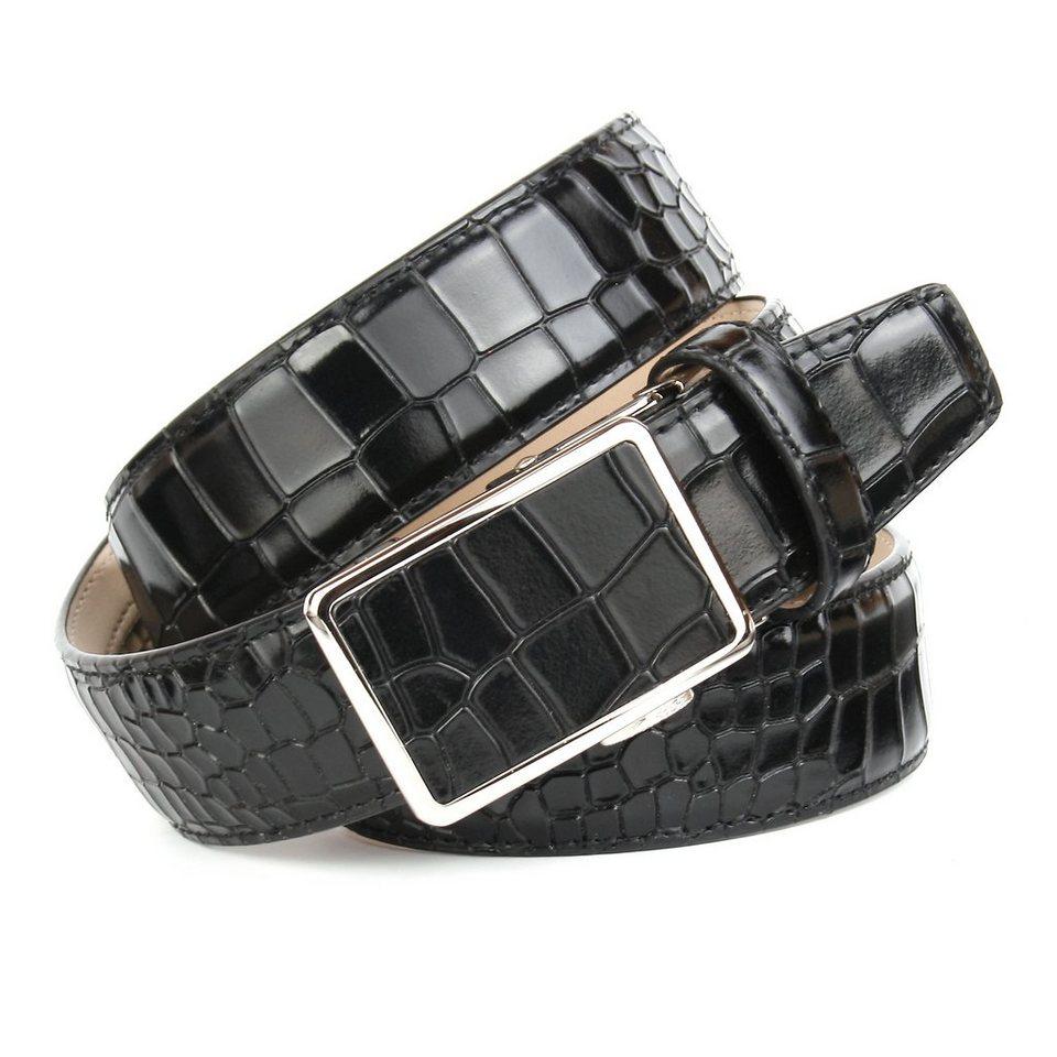 Anthoni Crown Ledergürtel mit Krokomuster in Schwarz