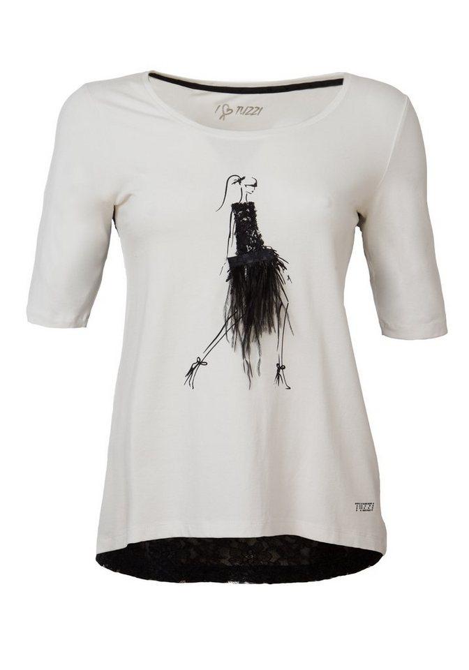 TUZZI Patchshirt mit Figurine mit Federrock in offwhite-figured