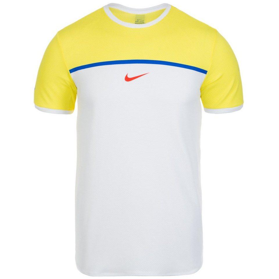 NIKE Challenger Premier Rafa Crew Tennisshirt Herren in gelb / weiß / blau