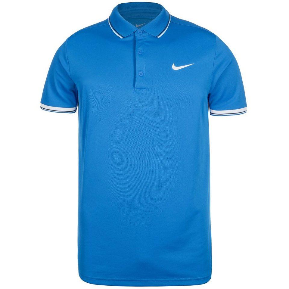 NIKE Team Court Tennispolo Herren in blau / weiß