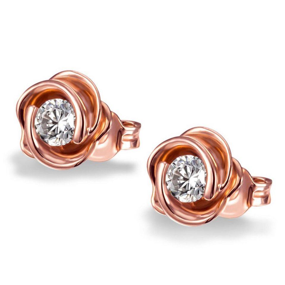 goldmaid Paar Ohrstecker Rosé 925/- Sterlingsilber rot vergoldet gesetzt in roségoldfarben