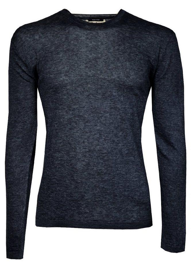 Signum Ultraleichter Leinen-Pullover mit Rundhals in medieval blue
