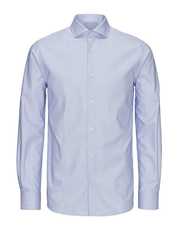 Jack & Jones Gemustertes Schaftgewebe- Businesshemd in Cashmere Blue