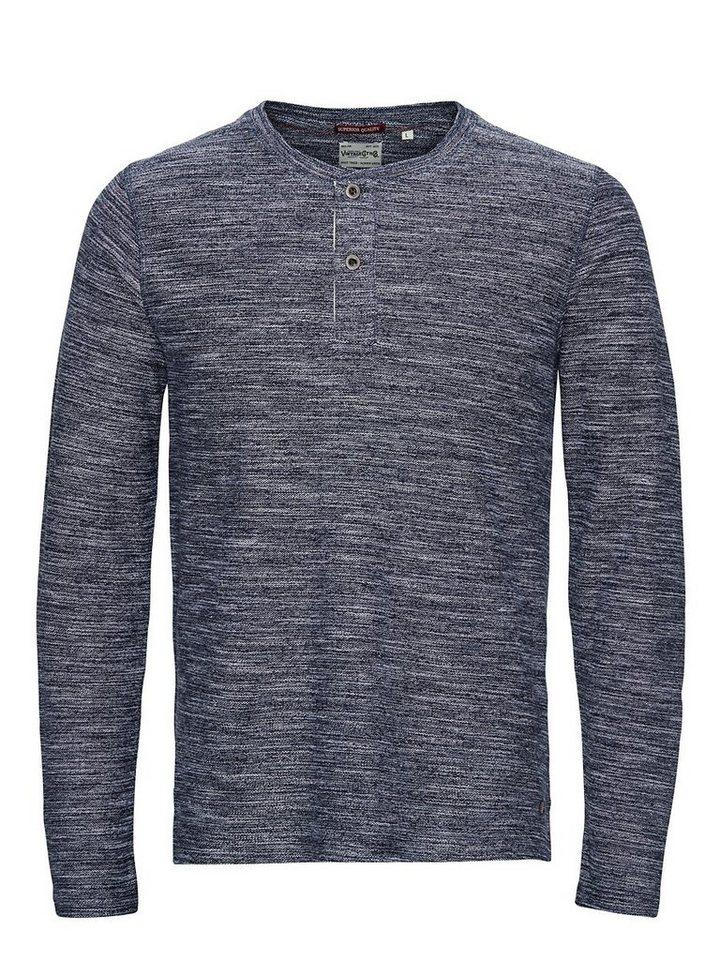 Jack & Jones Grandad-Kragen T-Shirt mit langen Ärmeln in MOOD INDIGO