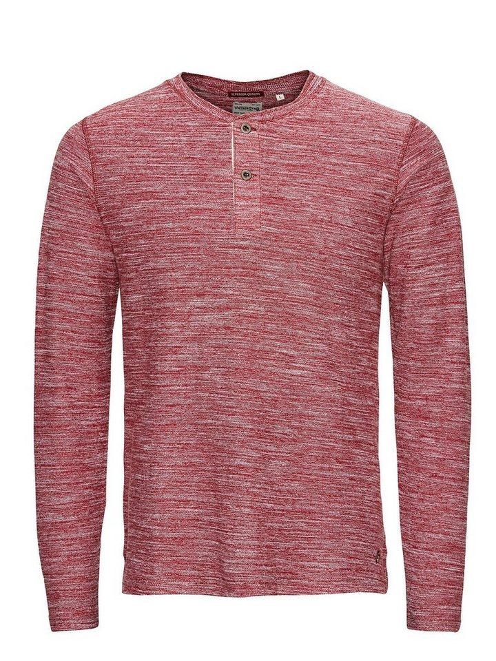 Jack & Jones Grandad-Kragen T-Shirt mit langen Ärmeln in Fired Brick