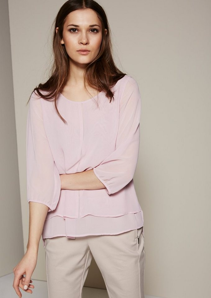 COMMA Aufregende 3/4-Arm Bluse im Lagenlook in candy rose