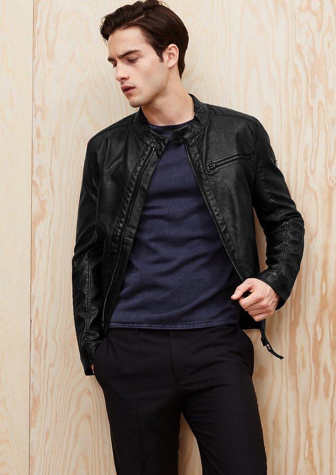 s.Oliver RED LABEL Jacke im authentischen Leder-Look in black