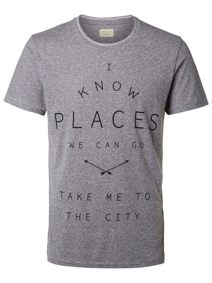 Selected Bedrucktes T-Shirt in Light Grey Melange