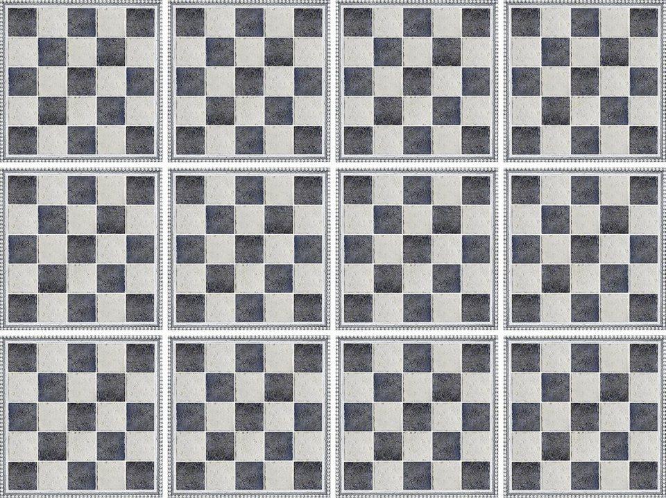 Home affaire Fliesenaufkleber »graphisch«, 12x 15/15 cm in grau/creme
