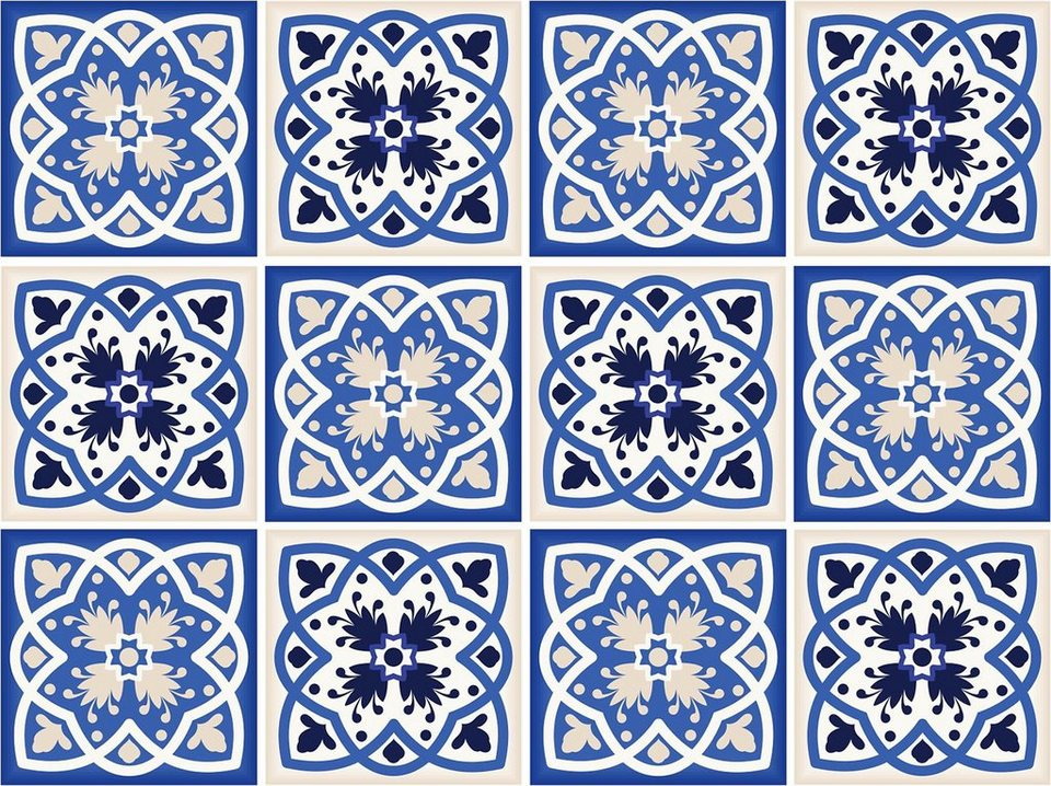 Home affaire Fliesenaufkleber »Ornamente«, 12x 15/15 cm in blau/creme