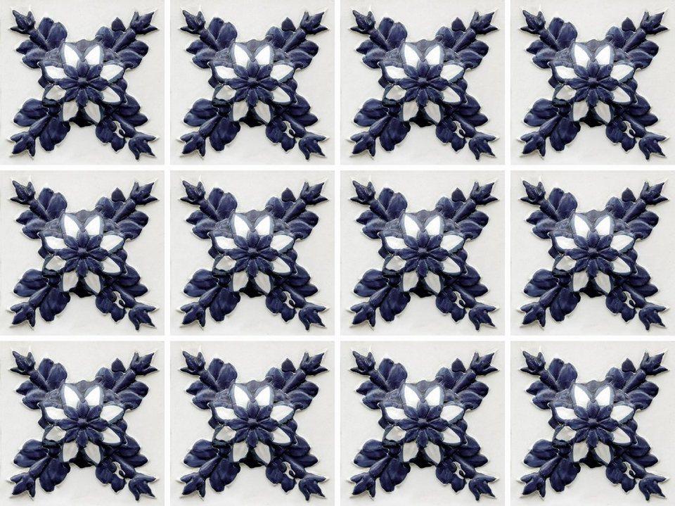 Home affaire Fliesenaufkleber »floral«, 12x 15/15 cm in schwarz/creme