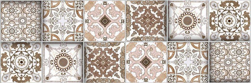 Home affaire Fliesenaufkleber »Ornamente«, 12x 15/15 cm in grau/braun