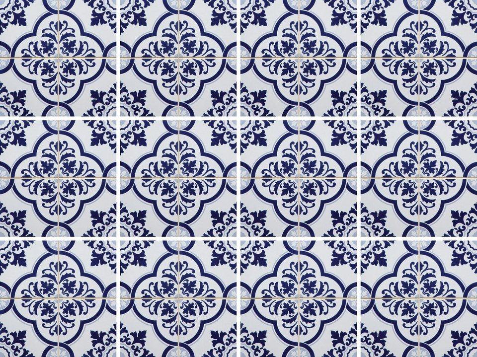 Home affaire Fliesenaufkleber »Ornamente«, 12x 15/15 cm in weiß/blau