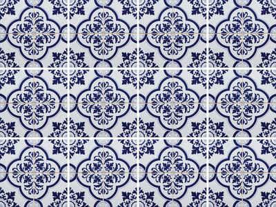 Home affaire Fliesenaufkleber »blaue Ornamente« (Set, 12 Stück)
