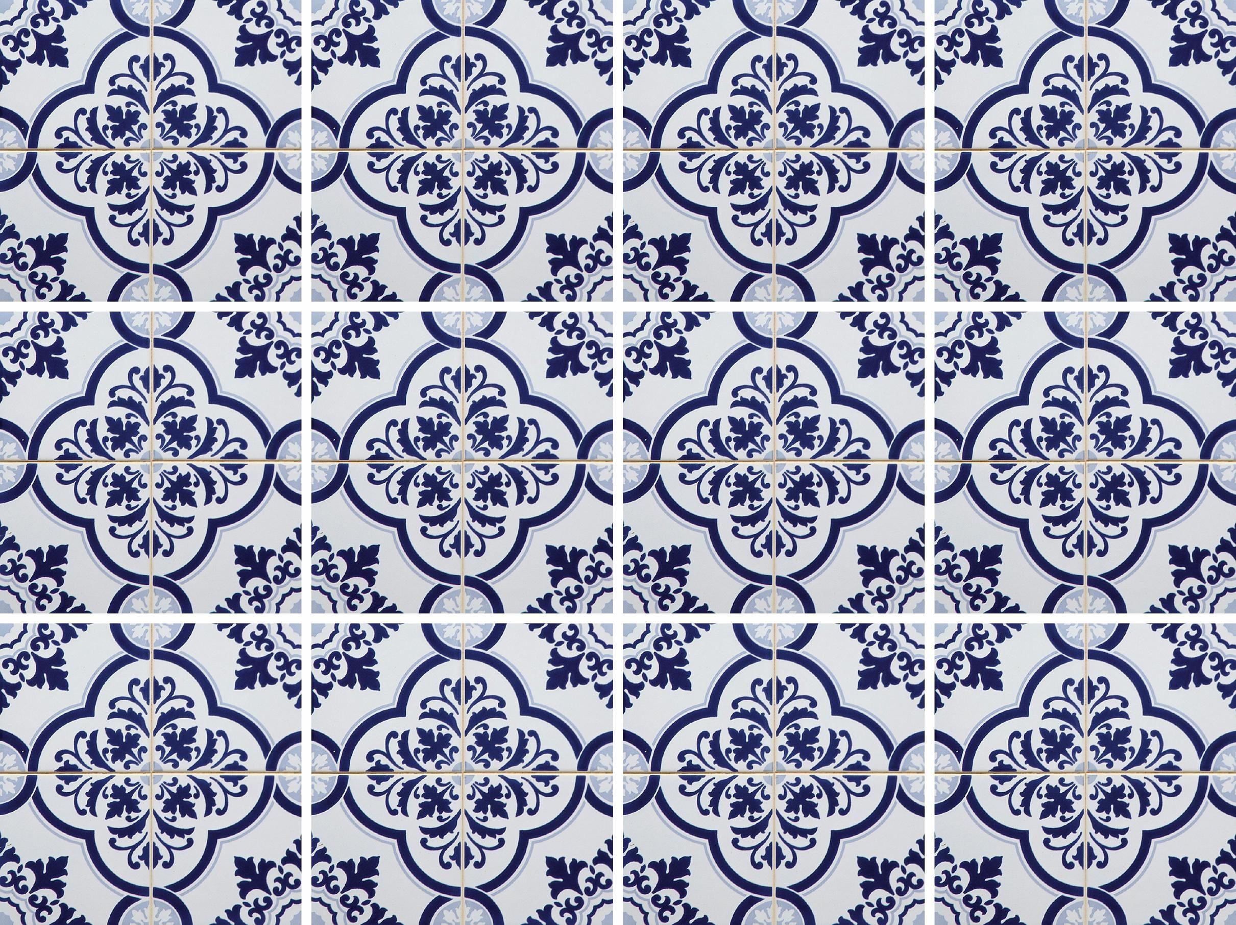 Home affaire Fliesenaufkleber »blaue Ornamente«, 12x 15/15 cm